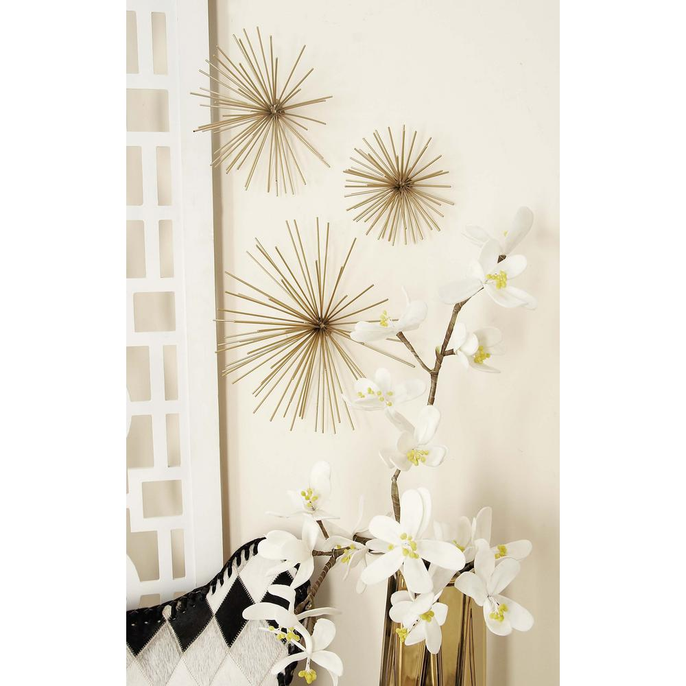Large: 11 In., Medium: 9 In., Small: 3 In. Industrial Arts Gold Tin Wire Starburst  Wall Decor (3 Pack) 50387   The Home Depot