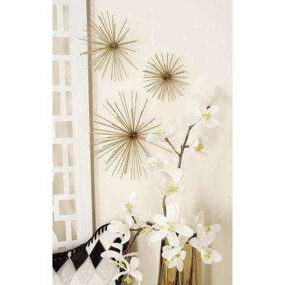 Large: 11 in., Medium: 9 in., Small: 3 in. Industrial Arts Gold Tin Wire Starburst Wall Decor (3-Pack)