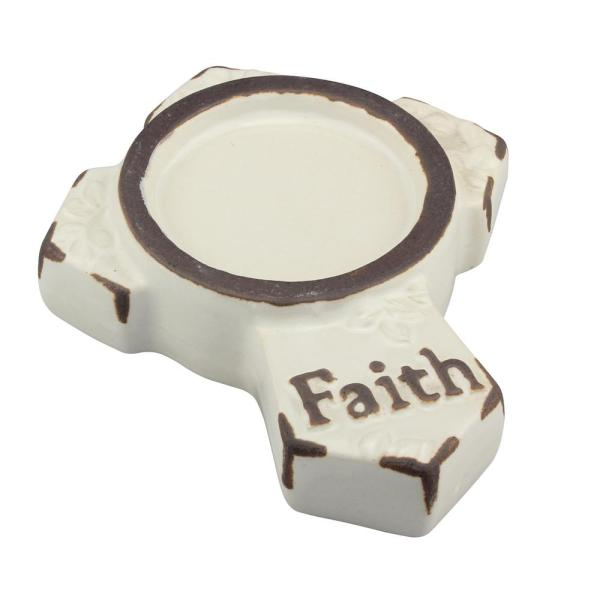 Stonebriar Rectangle Worn White Ceramic Cross Candle Plate