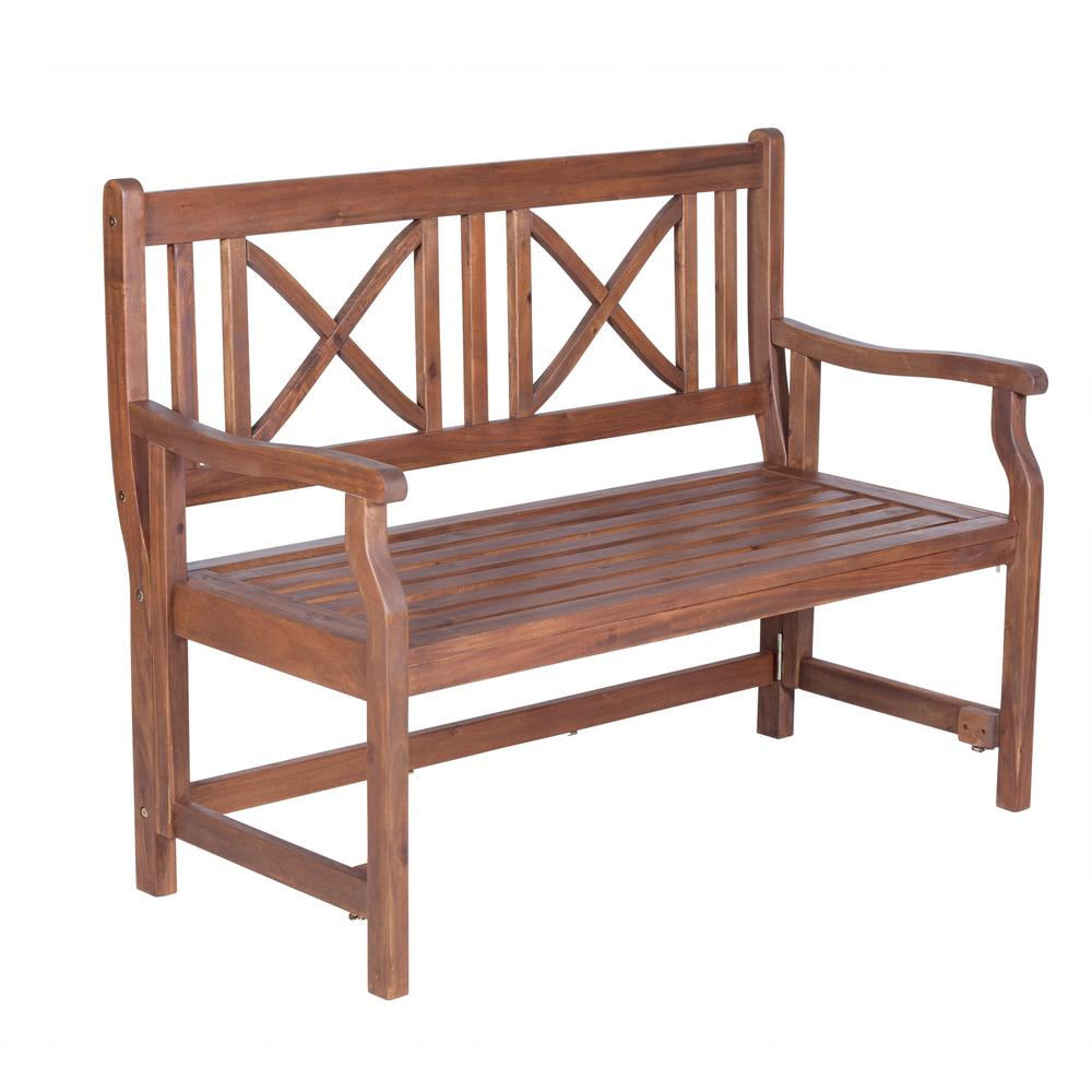 Walker edison furniture company 48 in wood folding for Outdoor furniture benches