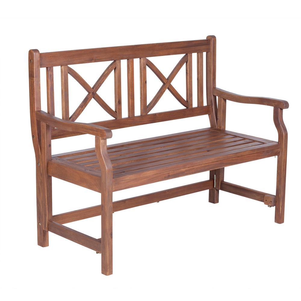 48 in. Wood Folding Outdoor Bench in Dark Brown