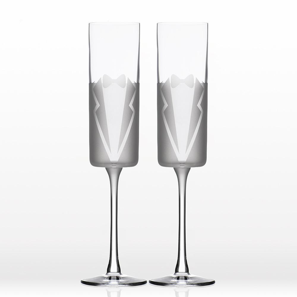 Wedding Cheers Formal (Tux/Tux) 5.75 oz. Flute (Set of 2)