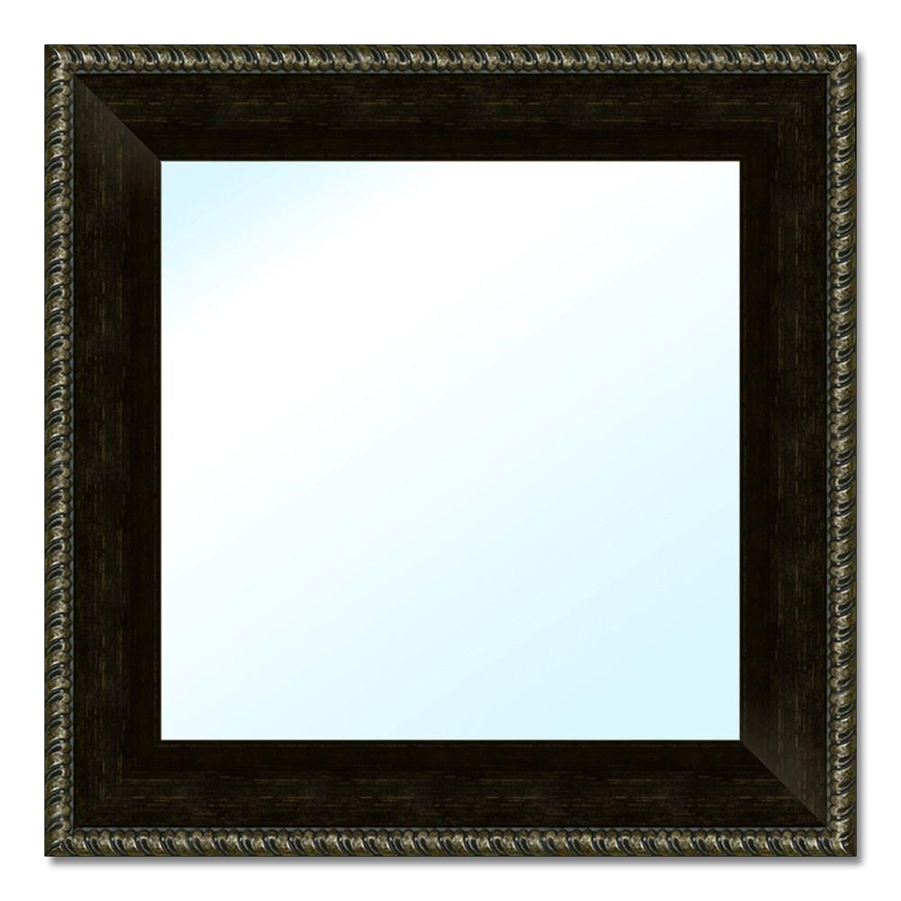 Small Square Espresso Classic Mirror (17.5 in. H x 17.5 in. W)