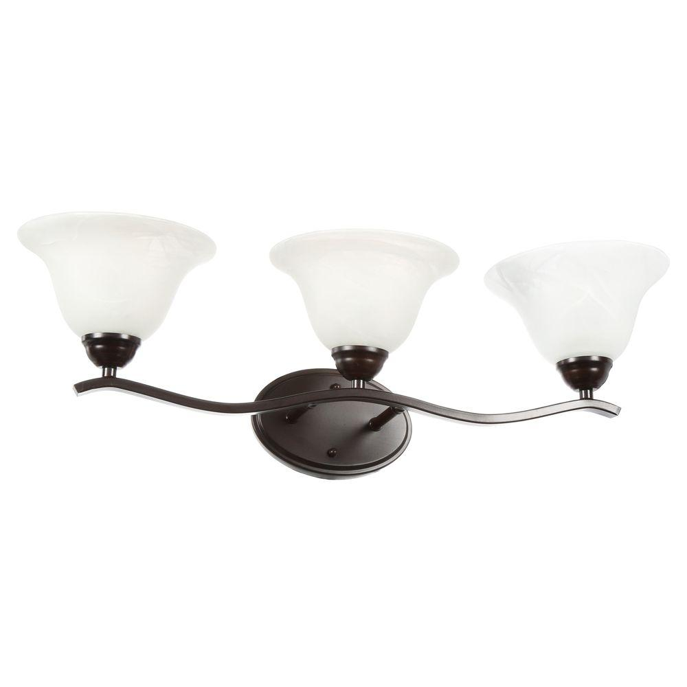 Hampton Bay Andenne 3 Light Brushed Nickel Vanity Light With Bell Shaped  Marbleized Glass Shades 705075   The Home Depot