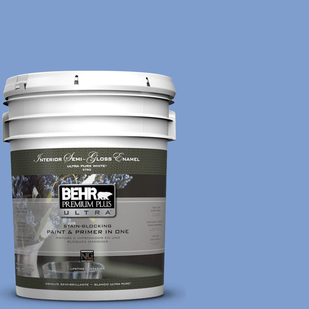 5-gal. #BIC-09 Caribbean Sky Semi-Gloss Enamel Interior Paint