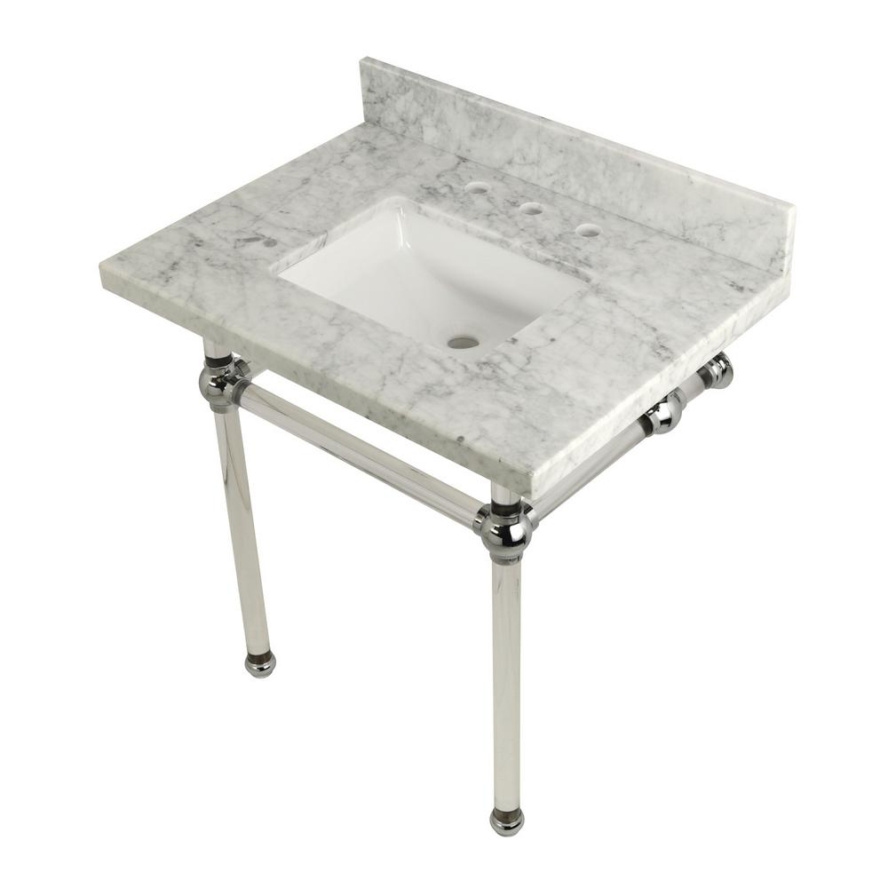 Square-Sink Washstand 30 in. Console Table in Carrara Marble with Acrylic