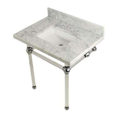 Square-Sink Washstand 30 in. Console Table in Carrara Marble with Acrylic Legs in Polished Chrome
