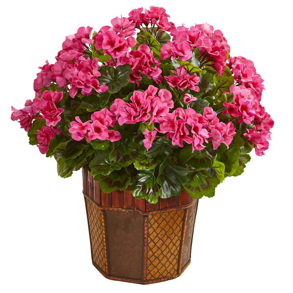 Indoor Geranium Artificial Plant in Brown Decorative Planter