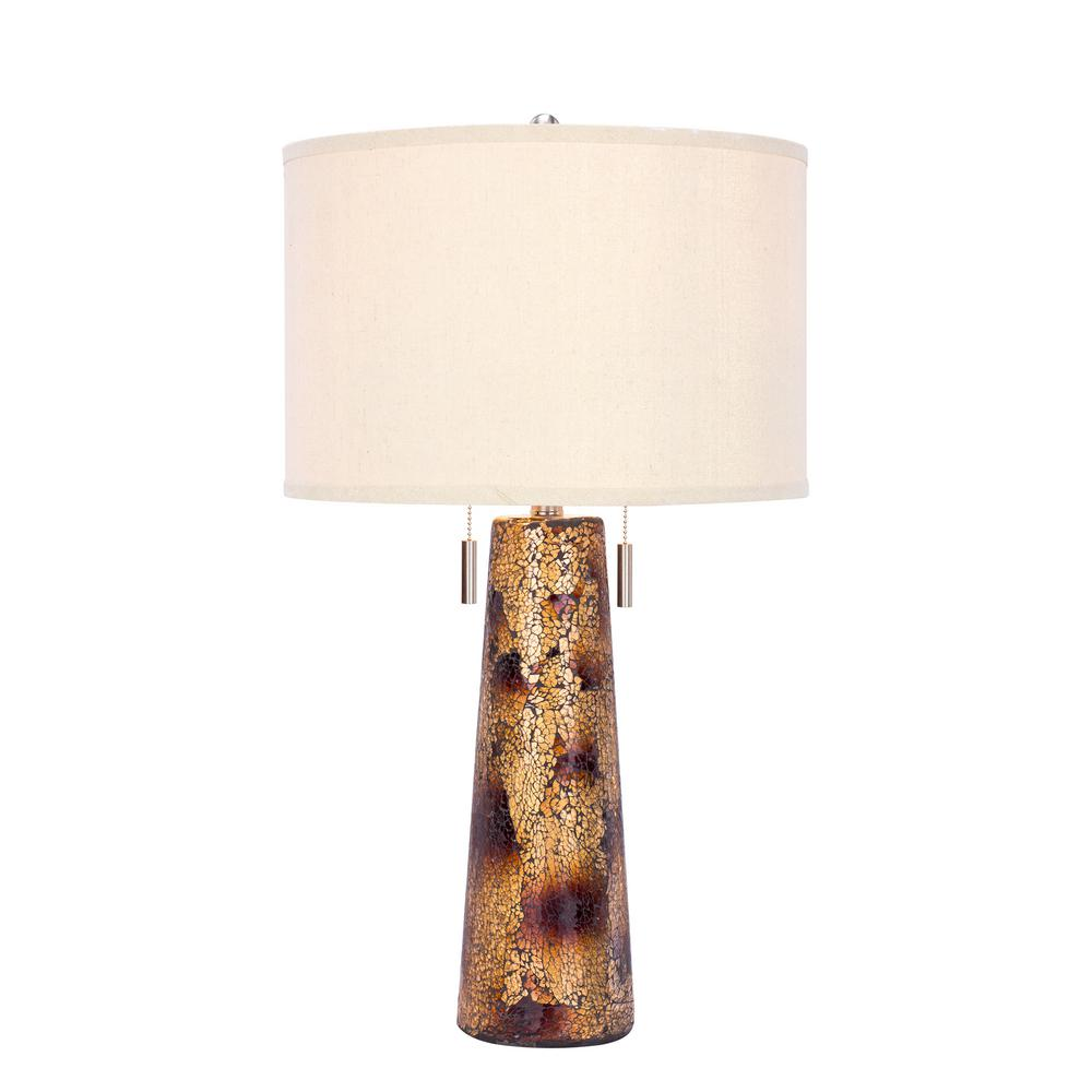 28 in. Twin Light Table Lamp in Amber Mosaic
