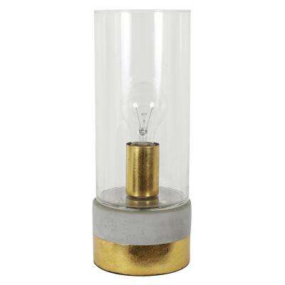 Jayden 12.5 in. Concrete Clear and Gold Glass Uplight Lamp