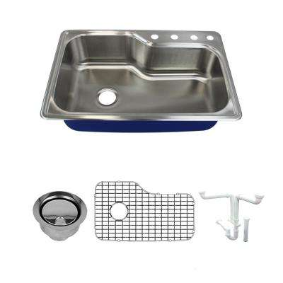 Meridian All-in-One Drop-In Stainless Steel 33 in. 4-Hole Single Bowl Kitchen Sink in Brushed Stainless Steel