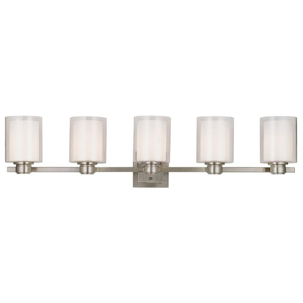 W 5 light brushed nickel vanity light