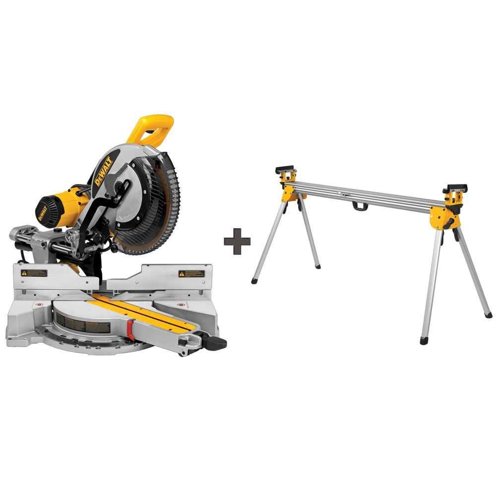 DEWALT 15 Amp 12 in. Sliding Miter Saw with Bonus Heavy-Duty Miter Saw Stand