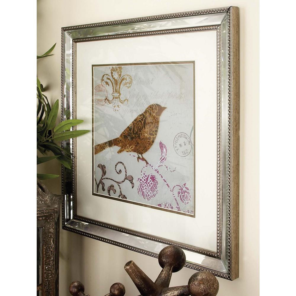 19 in. x 19 in. Modern Mirror-Framed Birds Wall Art (2-Pack)-39563 ...