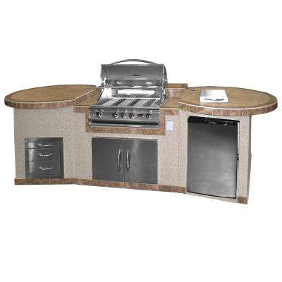 3-Piece BBQ Island with 32 in. BBQ Grill