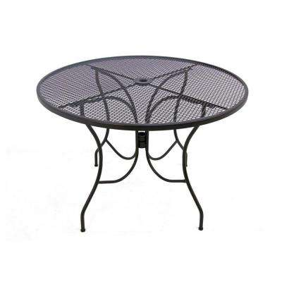 Glenbrook Chocolate Brown 42 in. Round Mesh Patio Dining Table