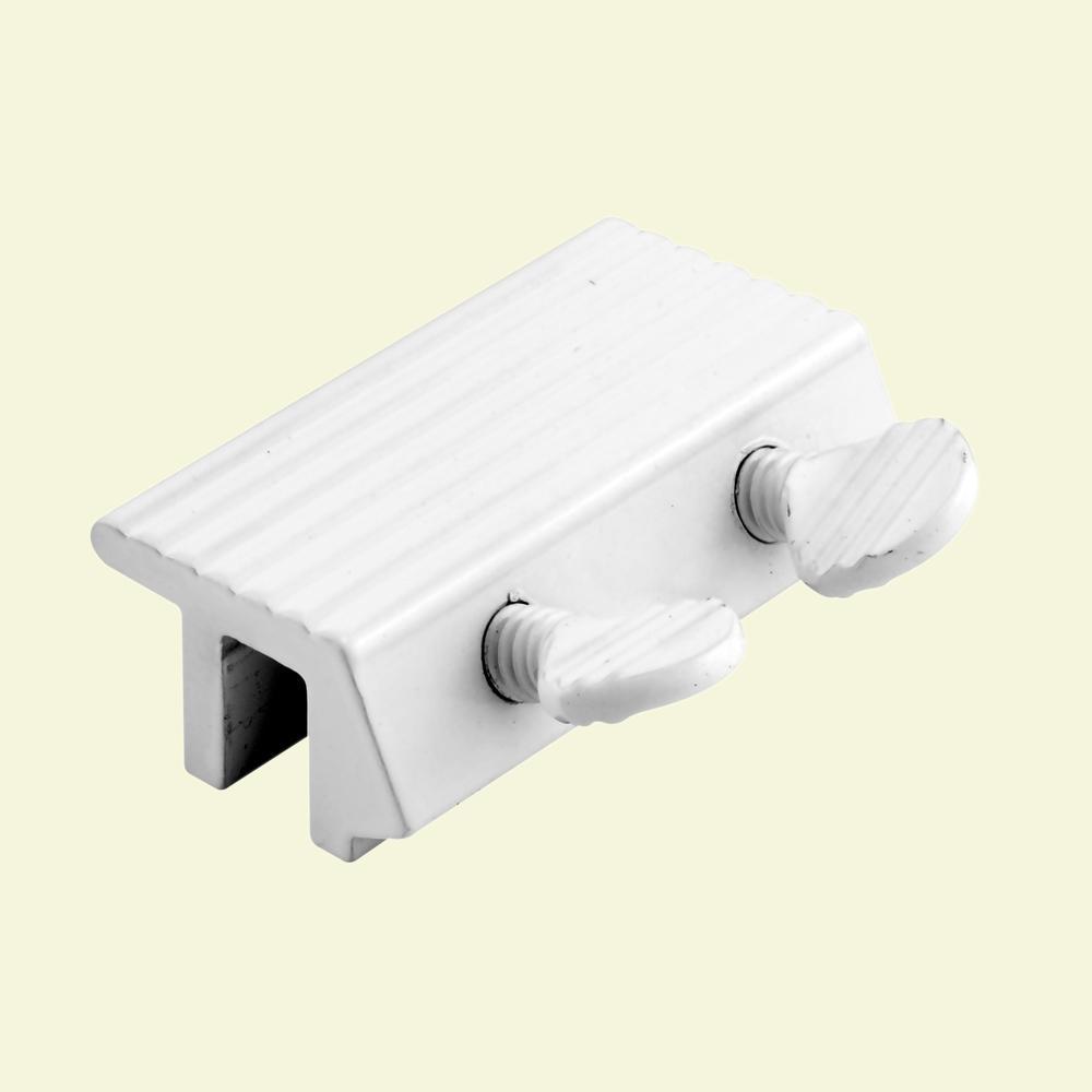 1-7/8 in., White Double Thumbscrew Sliding Door Lock