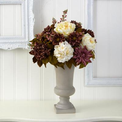 27 in. Peony, Hydrangea and Dahlia Artificial Arrangement in Sand Colored Urn
