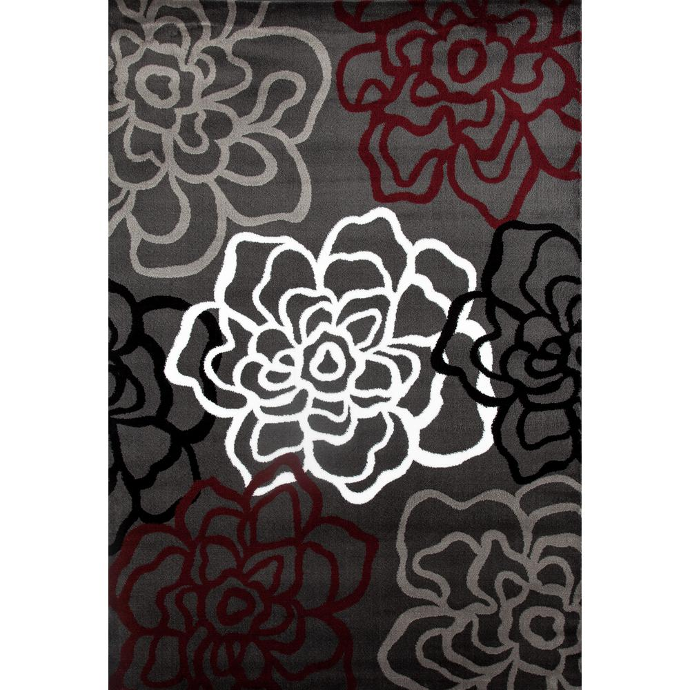 Contemporary Modern Fl Flowers Red Gray Area Rug