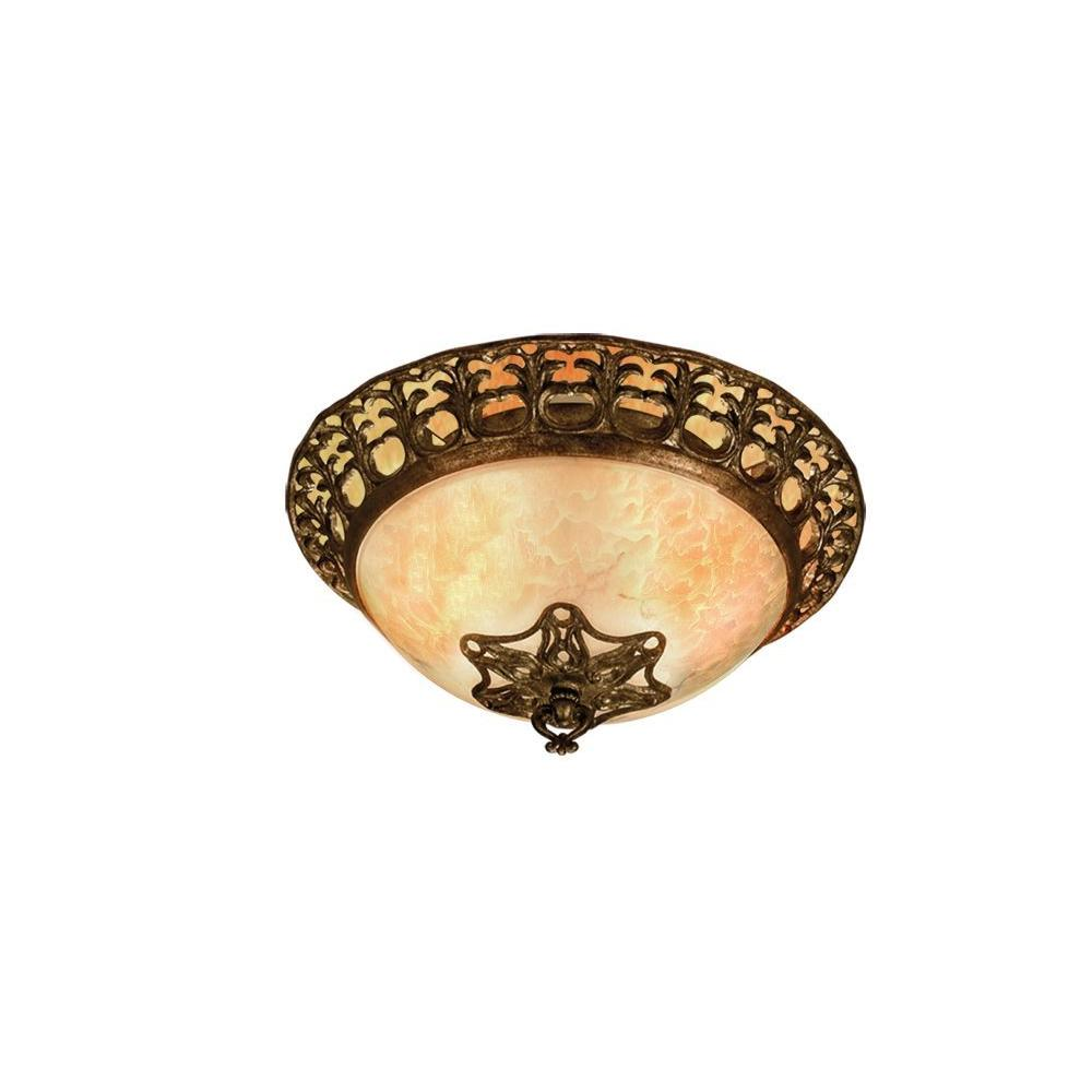 Eurofase Laurance Collection 3-Light Flush Mount Antique Gold Light-DISCONTINUED
