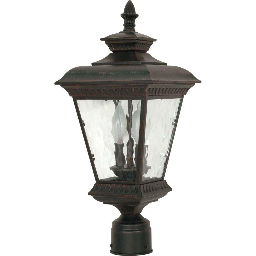 Glomar Charter 2 -Light 20 in. Post Lantern with Clear Water Glass Finished in Old Penny Bronze-DISCONTINUED