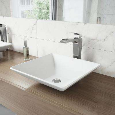 Hibiscus Matte Stone Vessel Sink and Blackstonian Bathroom Vessel Faucet in Chrome