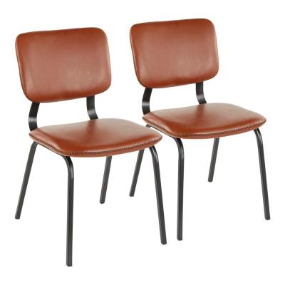 Foundry Cognac Faux Leather Chair with Brown Stitching (Set of 2)