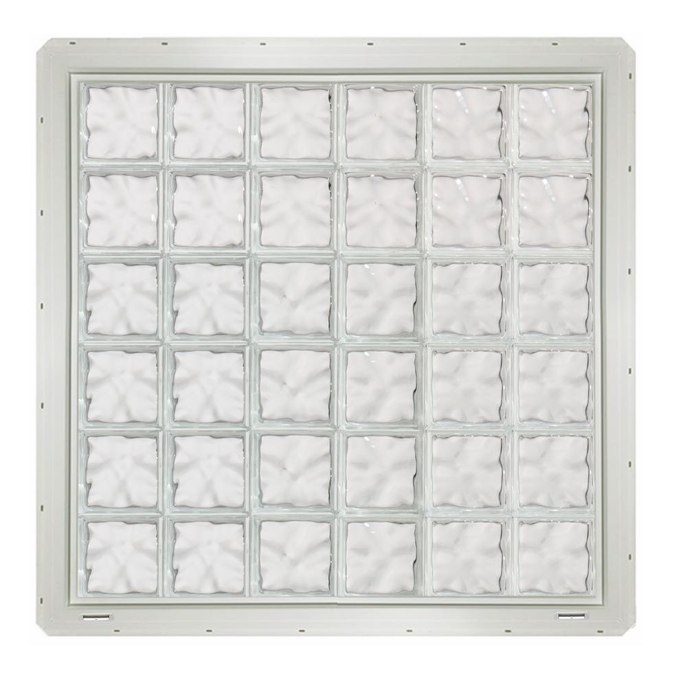 CrystaLok 46.75 in. x 46.75 in. x 3.25 in. Wave Pattern Glass Block ...