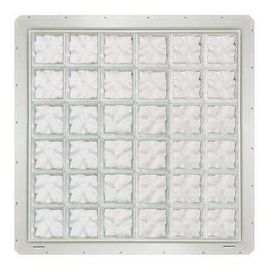 46.75 in. x 46.75 in. x 3.25 in. Wave Pattern Glass Block Window with White Vinyl Nailing Fin