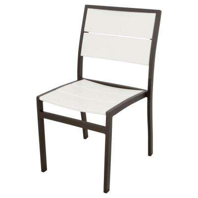 Surf City Textured Bronze Patio Dining Side Chair with Classic White Slats