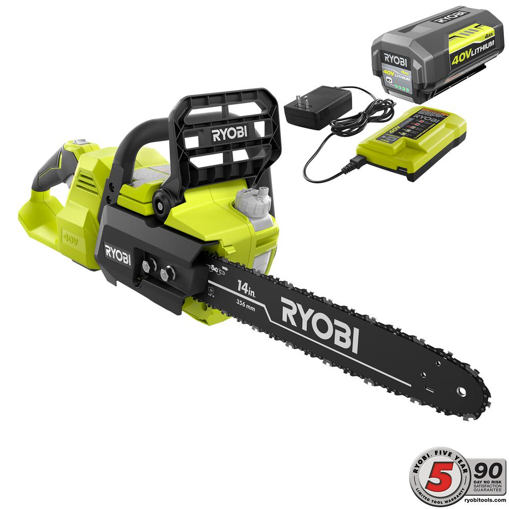 RYOBI 14 in. 40-Volt Brushless Lithium-Ion Cordless Chainsaw, 4 Ah Battery and Charger Included