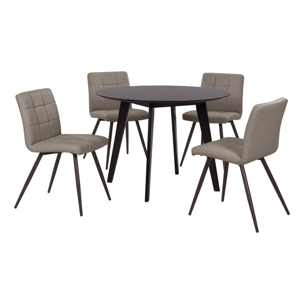 upholstered dining room set comfy handy living edgewater 5piece dining set with espresso round table and armless upholstered