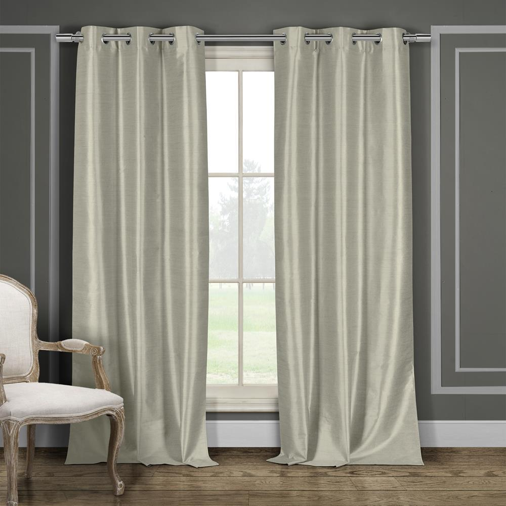 Duck River Daenerys 38 in. x 96 in. L Polyester Faux Silk Curtain Panel in Taupe (2-Pack)