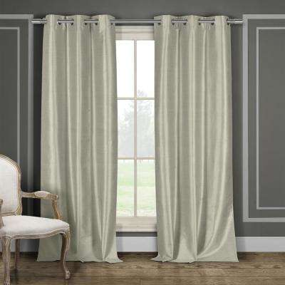 Daenerys 38 in. x 96 in. L Polyester Faux Silk Curtain Panel in Taupe (2-Pack)