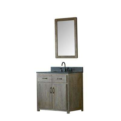 36 in. W x 22 in. D Vanity in Brushed Natural with Moon Stone Vanity Top in Black with White Basin and Mirror