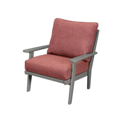 Grant Park Slate Grey Deep Seating Plastic Outdoor Lounge Chair with Silver Garnet Cushion