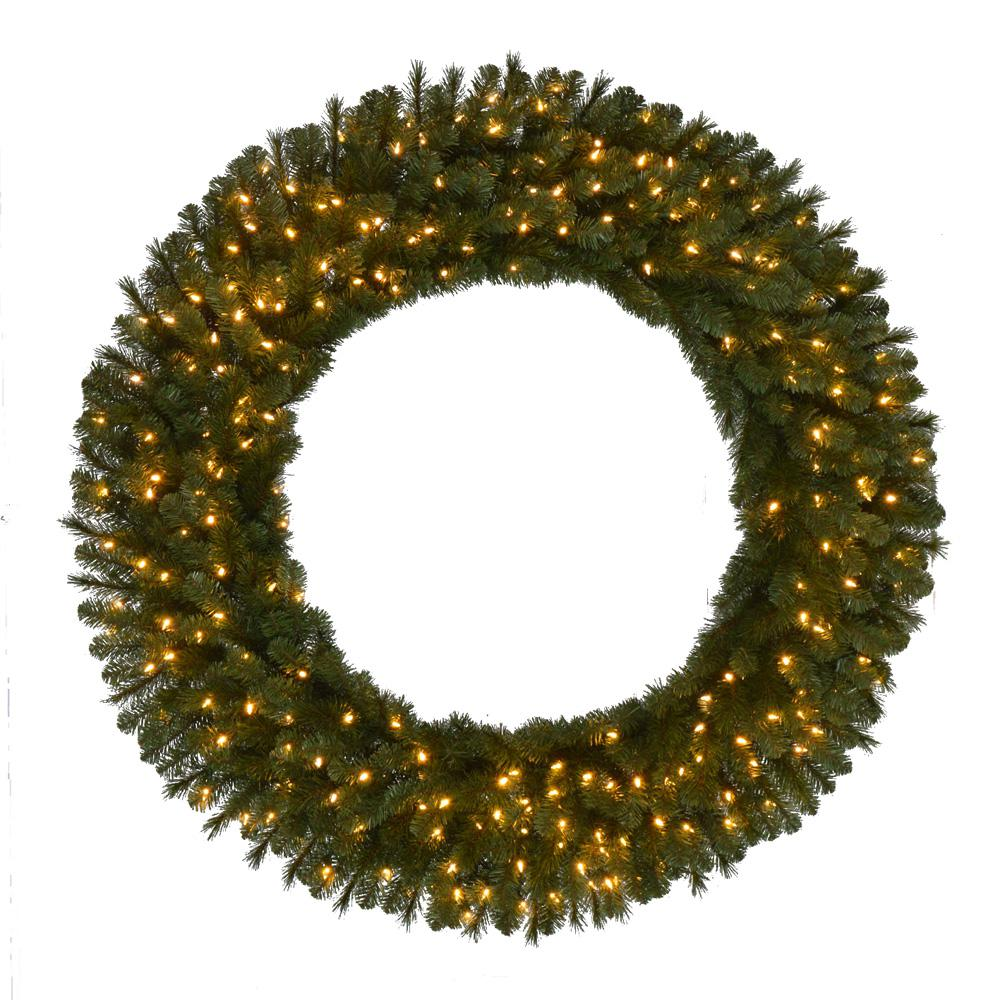 Home Accents Holiday 60 in. Pre-Lit LED Artificial Wesley Spruce Christmas Wreath with 498 Tips and 240 Warm White Lights