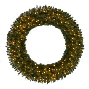 60 in. Pre-Lit LED Artificial Wesley Spruce Christmas Wreath with 498 Tips and 240 Warm White Lights