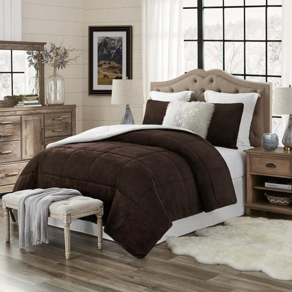 Premium Ultra-Soft 3-Piece Chocolate Faux Fur Reverse to Sherpa Full/Queen Comforter and Sham Set