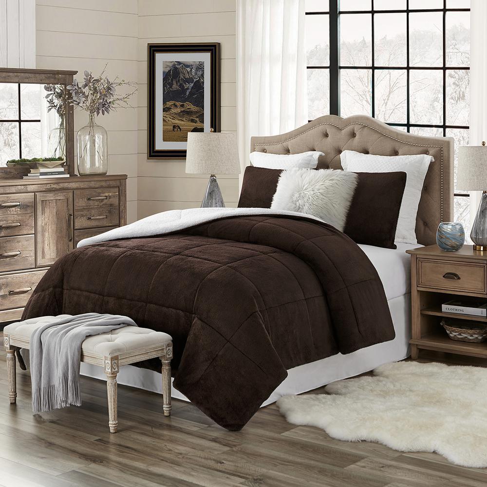 Premium Ultra-Soft 3-Piece Chocolate Faux Fur Reverse to Sherpa King/California King Comforter and Sham Set