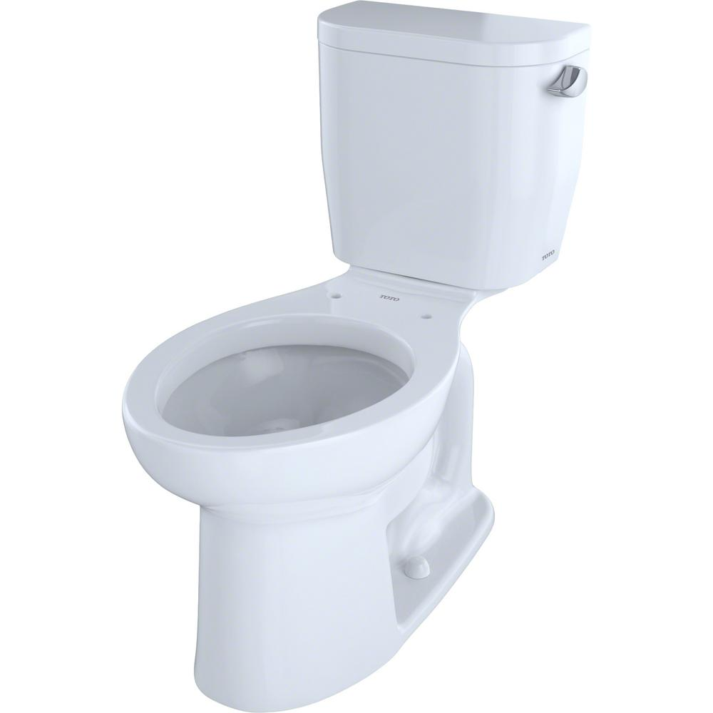 TOTO Entrada 2-Piece 1.28 GPF Single Flush Elongated Toilet with Right Hand Trip Lever in Cotton White