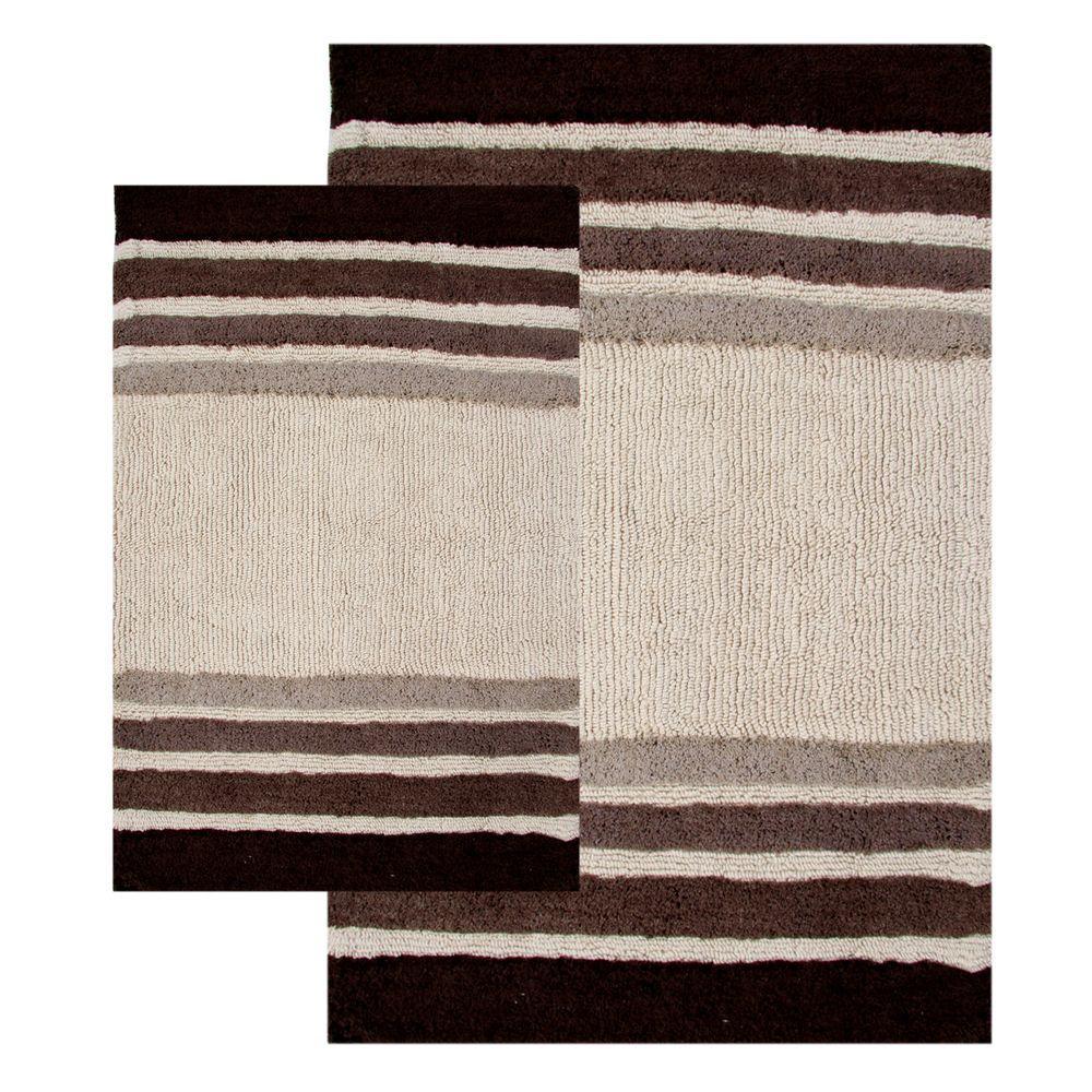 Chesapeake Merchandising 20 in. x 32 in. and 23 in. x 39 in. 2-Piece Tuxedo Stripe Bath Rug Set in Chocolate