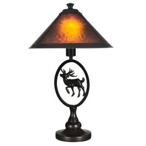 Moose Brown Amber Mica Table Lamp