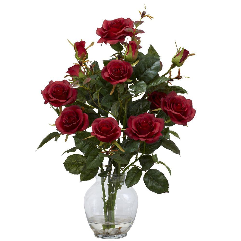 22 In H Red Rose Bush With Vase Silk Flower Arrangement 1281 Rd