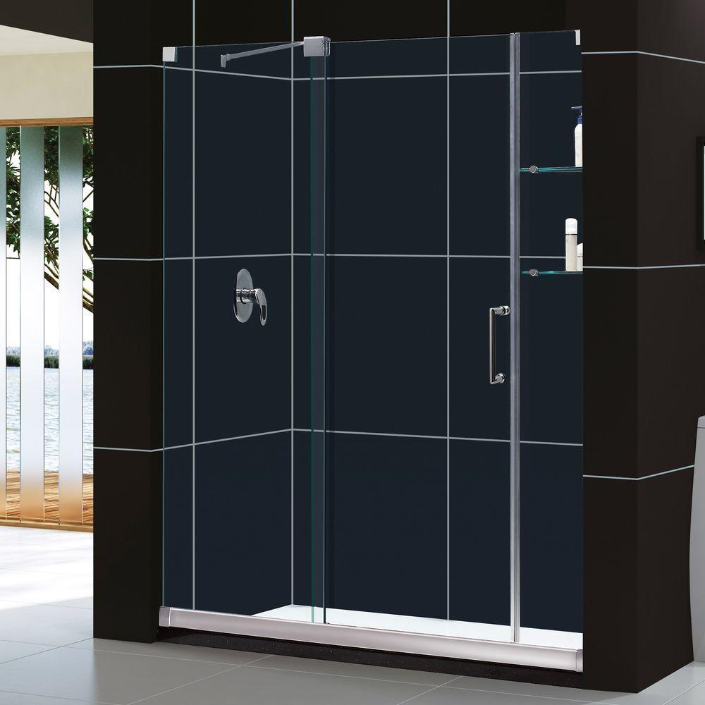 DreamLine Mirage 30 in. x 60 in. x 74.75 in. Semi-Framed Sliding Shower Door in Chrome with Left Drain White Acrylic Base
