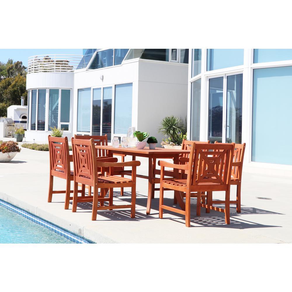 Malibu Hardwood 7-Piece Rectangle Patio Dining Set