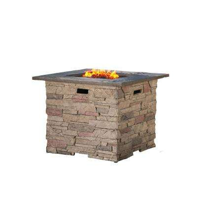 Ophelia 32 in. x 24 in. Square MGO Propane Fire Pit in Natural Stone with Grey Top