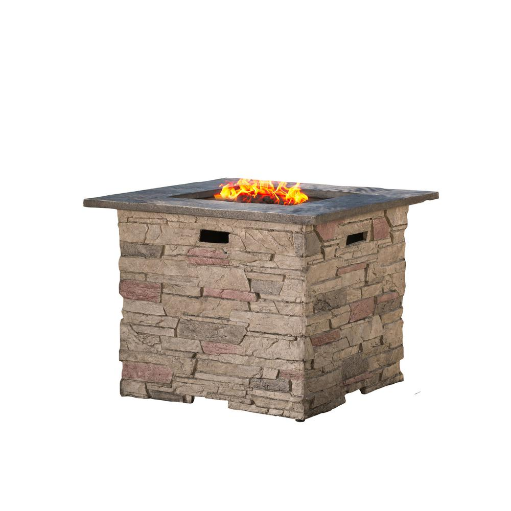 Noble House Ophelia 32 in. x 24 in. Square MGO Propane Fire Pit in Natural Stone with Grey Top