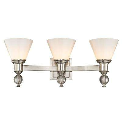 Sofia 3-Light Satin Nickel Sconce with Opal Glass Shades