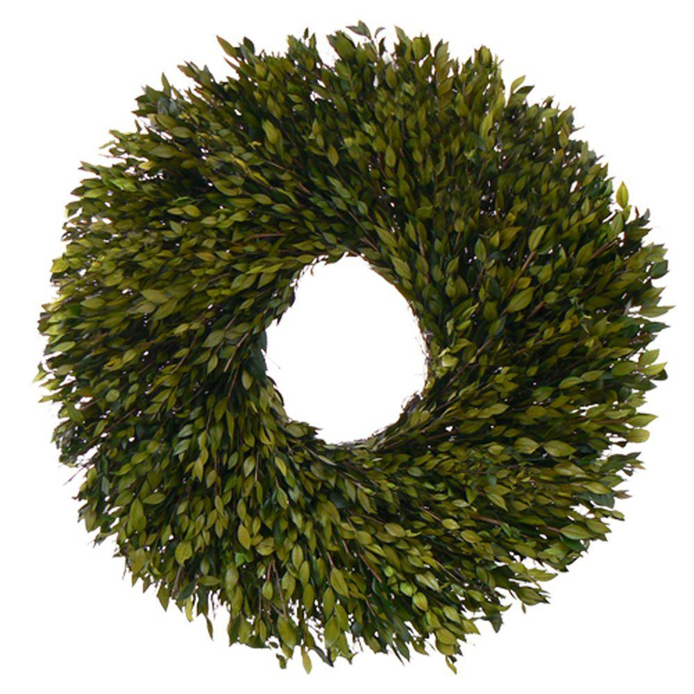 The Christmas Tree Company Evergreen Myrtle 30 in. Dried Floral Wreath